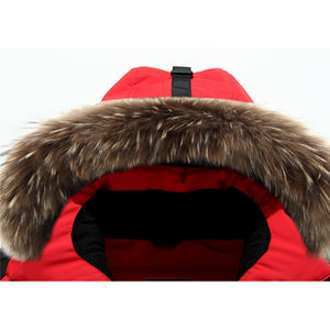 Mens Winter Duck Down jacket with a Furry Hood
