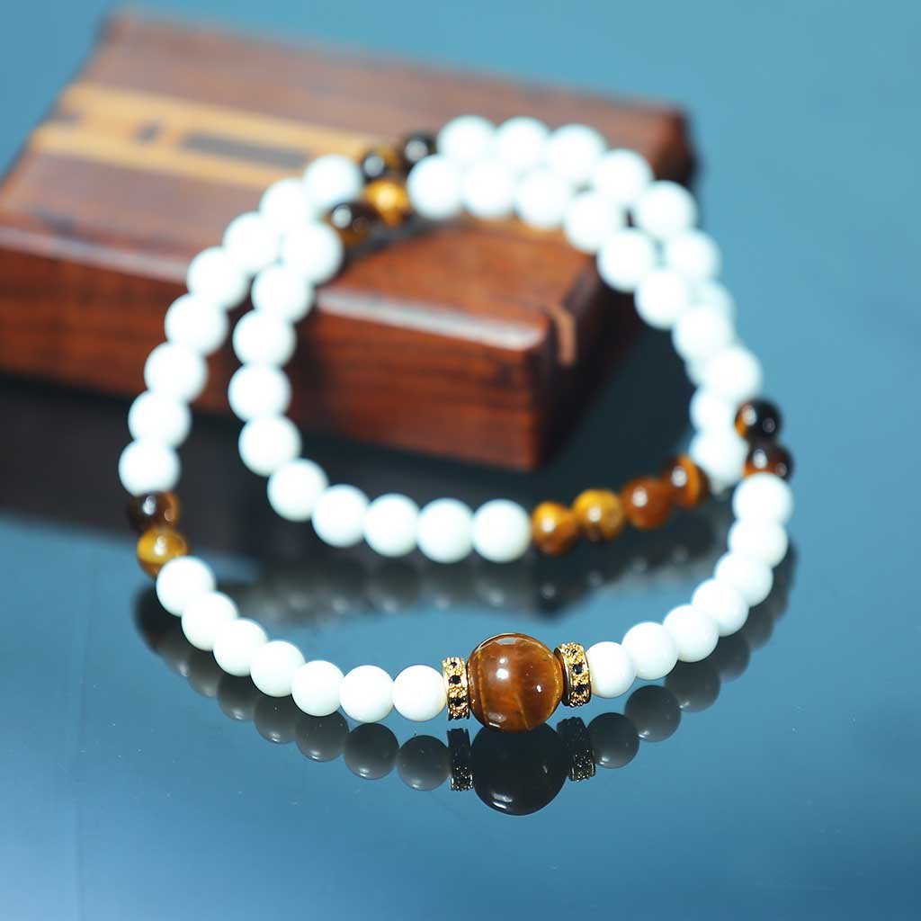 "JWF ™ ""Stay Elegantly Ahead"" Tiger's Eye White Stone Bracelet"