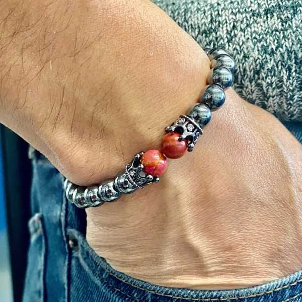 "JWF ™  ""Keep Your Faith Strong "" Premium  Natural Jasper Hematite Crown Bracelet"