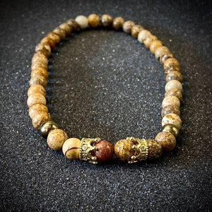 JWF ™ Exclusive Energised Picture Jasper Stone Bracelet For Health & Inner Stability