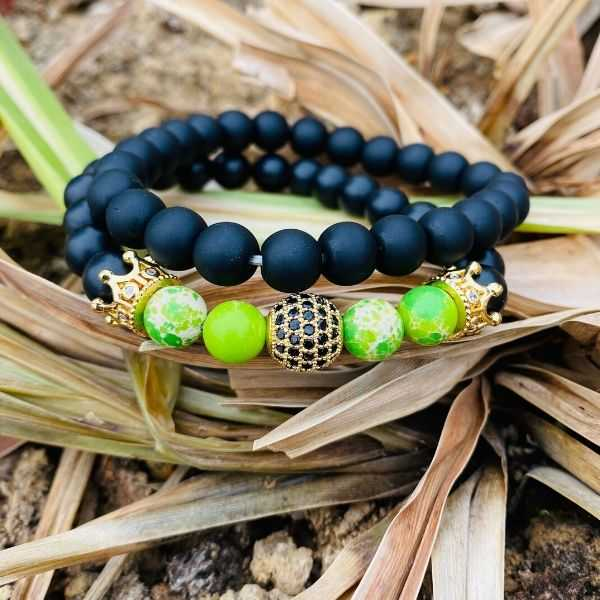 JWF ™ Premium Natural Green Energised Jasper Agate Stone Crown Bracelet For Health