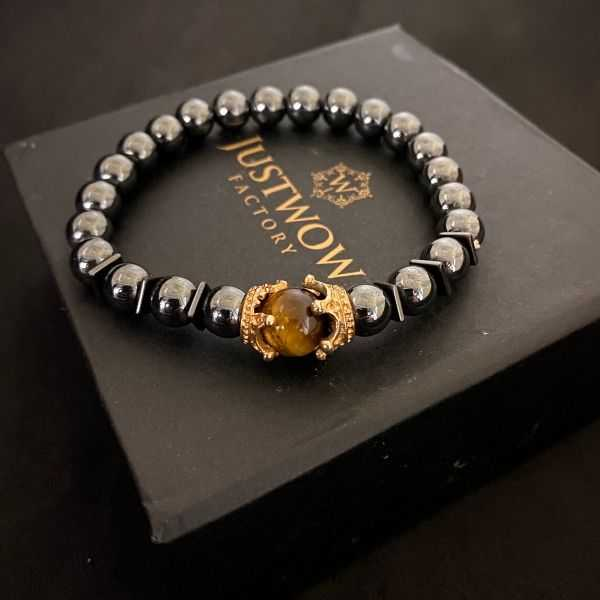 JWF ™ Premium  Natural Hematite Tiger Eye  Bracelet Of Peace & Aura