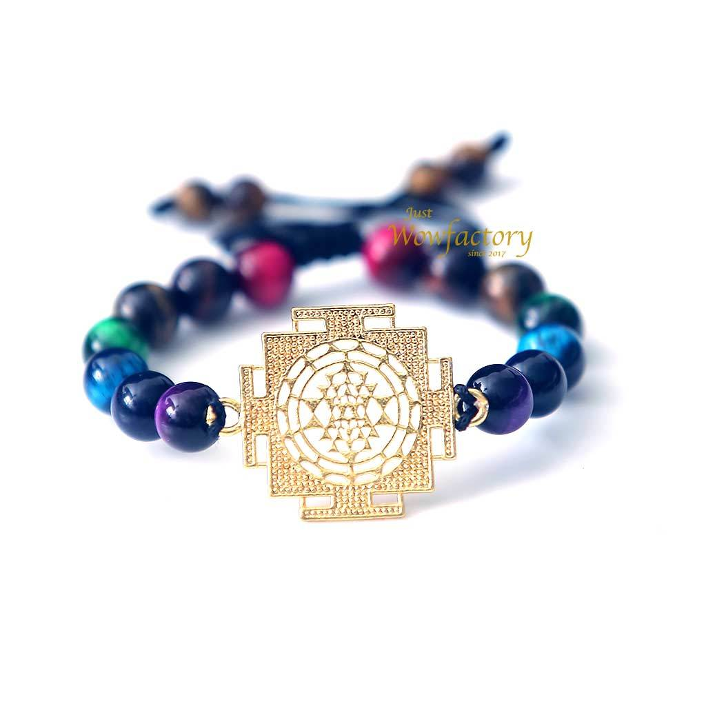 "JWF™ "" I am Rich By Heart "" 7 Chakra SriYantra Tiger Eye Healing Stone Bracelet"