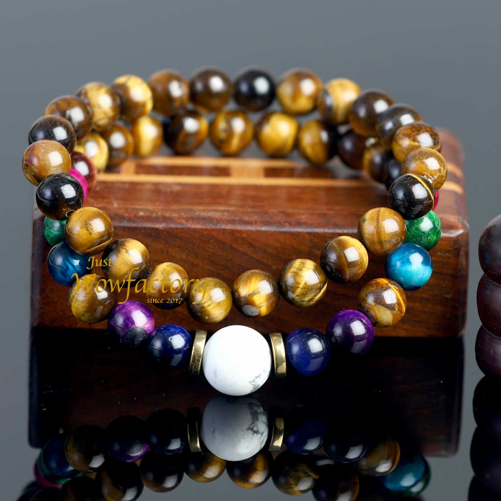 "JWF™ Exclusive Howlite ""Peace-Health-Protection"" 7 Chakra Tiger's Eye Stone Healing Bracelet"