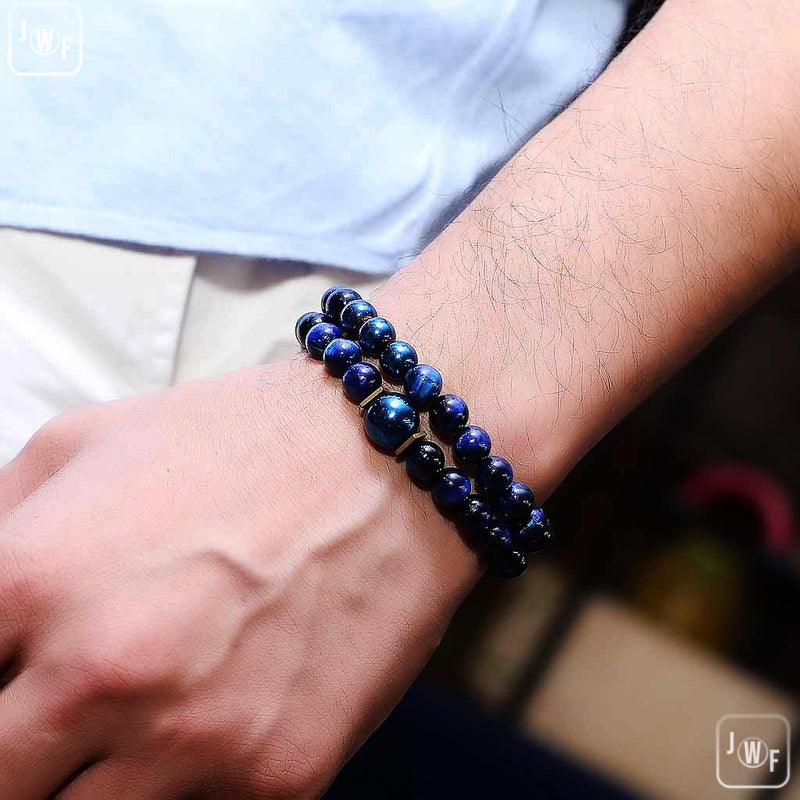 JWF™ Exclusive Premium Blue Tiger Eye Hematite Pair Meditation Bracelet
