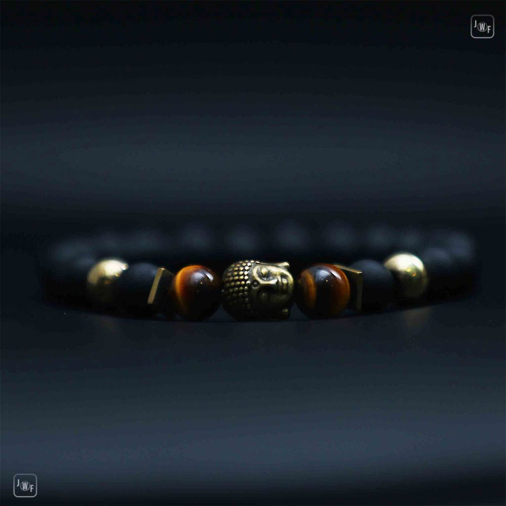 "JWF™ "" Full of Peace"" Buddha Tiger Eye Agate Bracelet"