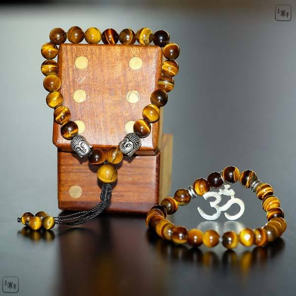 "JWF™ ""Remain Strong Willed"" Tiger Eye Aum Buddha Bracelet"