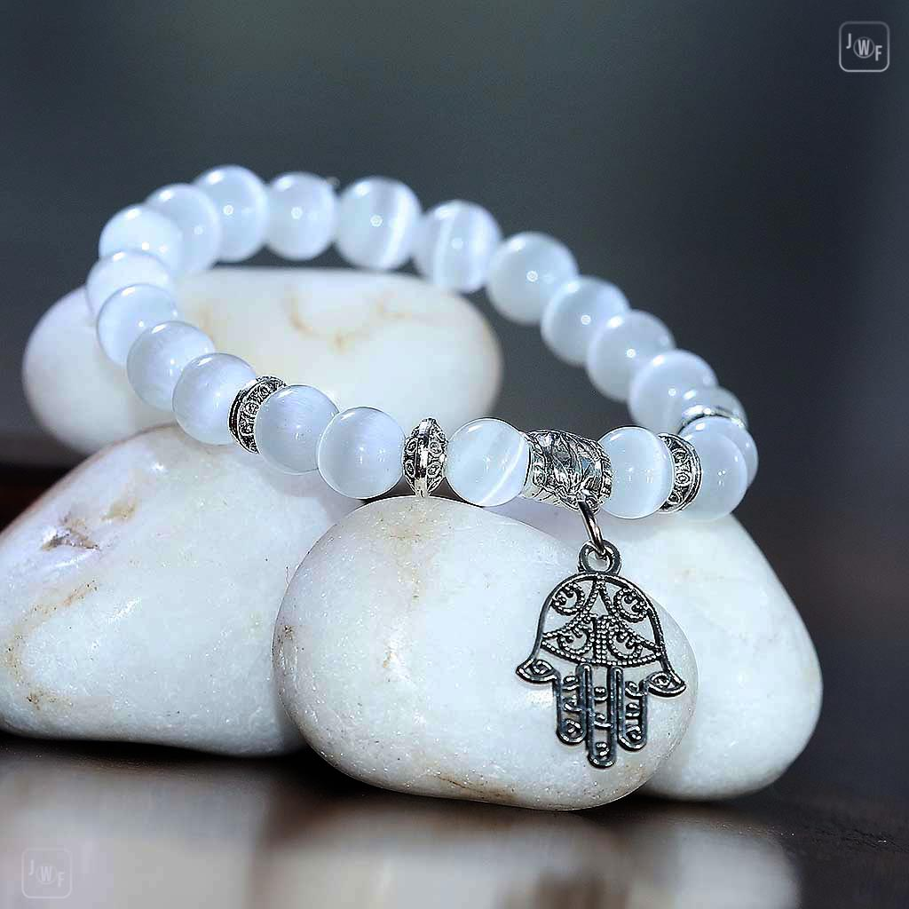 "JWF™ Exclusive ""Adore Yourself "" Natural Hamsa Cat Eye Girl Bracelet"