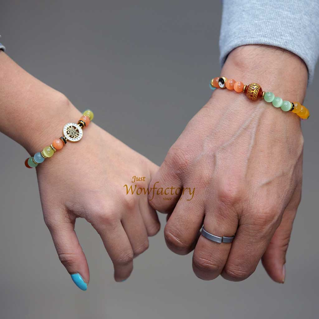 "JWF™ ""Staying True Forever"" Premium Flower of Life 7 chakra Cat's Eye Couple Bracelet"