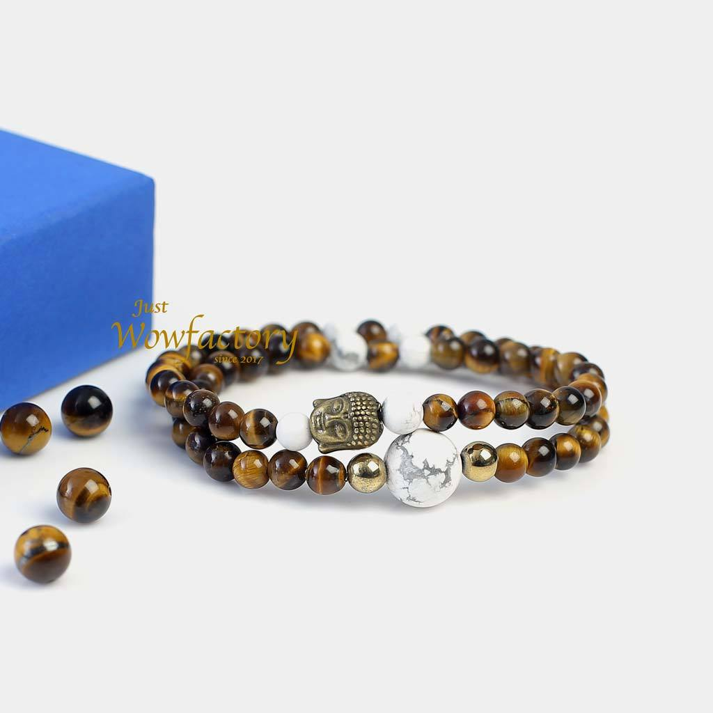 "JWF™ ""Dare To Be Self Believer"" Tiger Eye Howlite Stones Buddha Double Wrap Bracelet"
