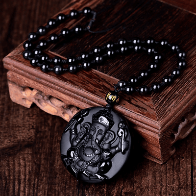 JWF™ Natural Obsidian 🕉 Ganesha Happiness Pendant For Health & Positive Energy