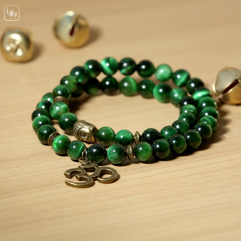 JWF™ Natural Green Tiger Eye Stone Aum Buddha Double Fold Bracelet For Mind & Positivity