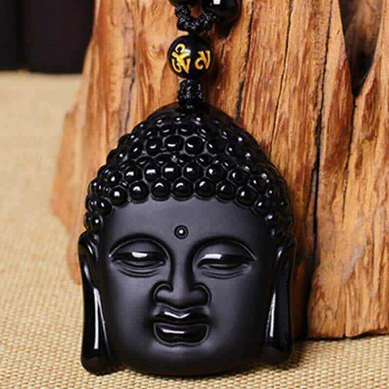 JWF™ Exclusive 🕉 Buddha Happiness Pendant: 100% Natural Obsidian Stone