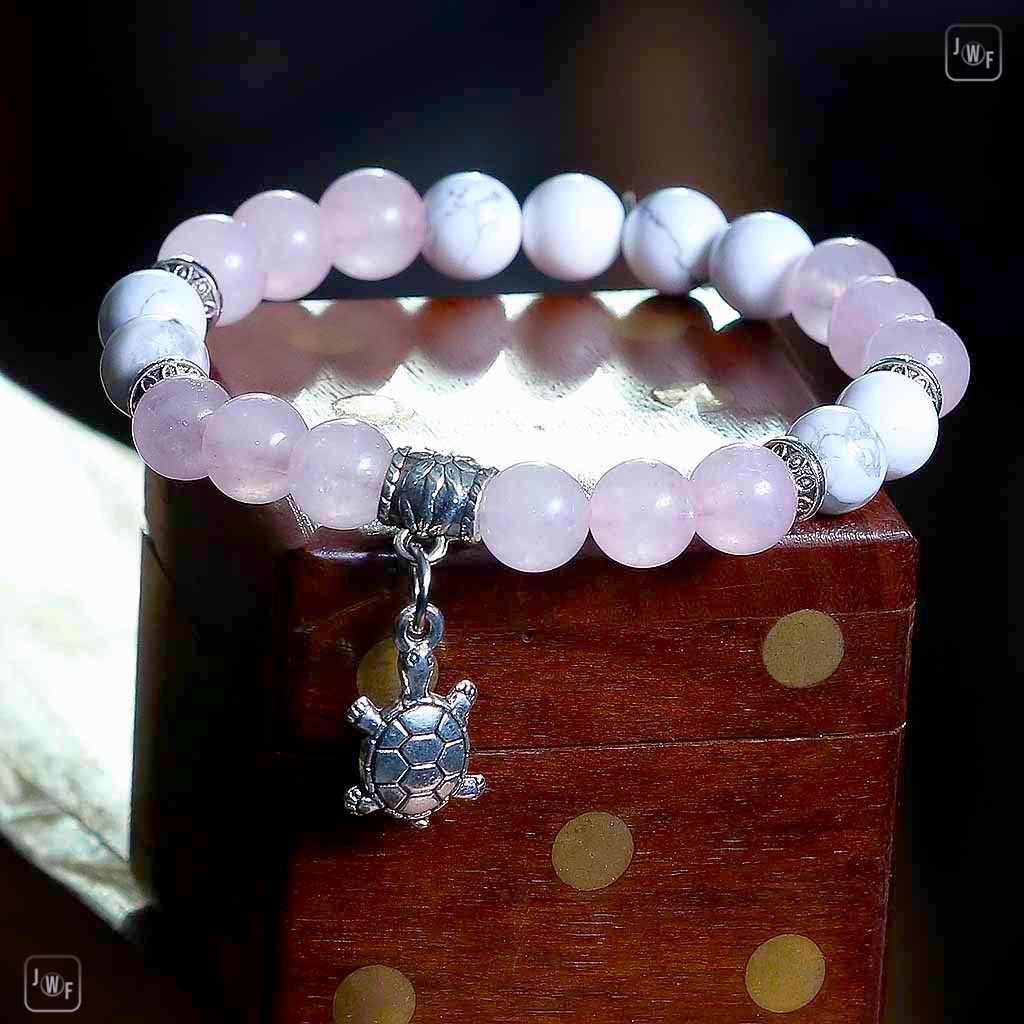 JWF™ Exclusive Natural  Howlite Rose Quartz Turtle Girl Bracelet.