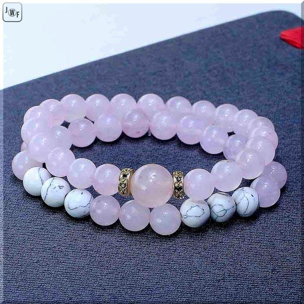 JWF™ Premium Zirconia Natural  Howlite Rose Quartz Love Bracelet