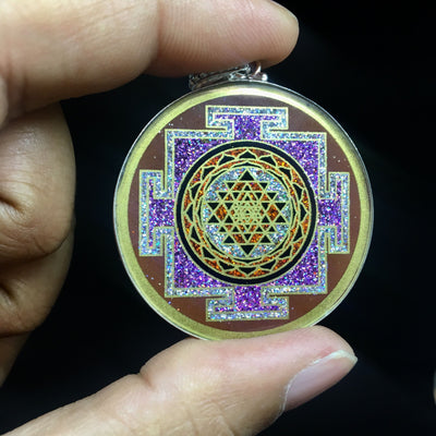 JWF™ Exclusive Garnet Gem Stone Lakshmi Sri Yantra Pendant For Higher Thinking & Self Empowerment