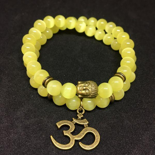 JWF™ Exclusive Healing Cat's Eye Stone OM Buddha Bracelet