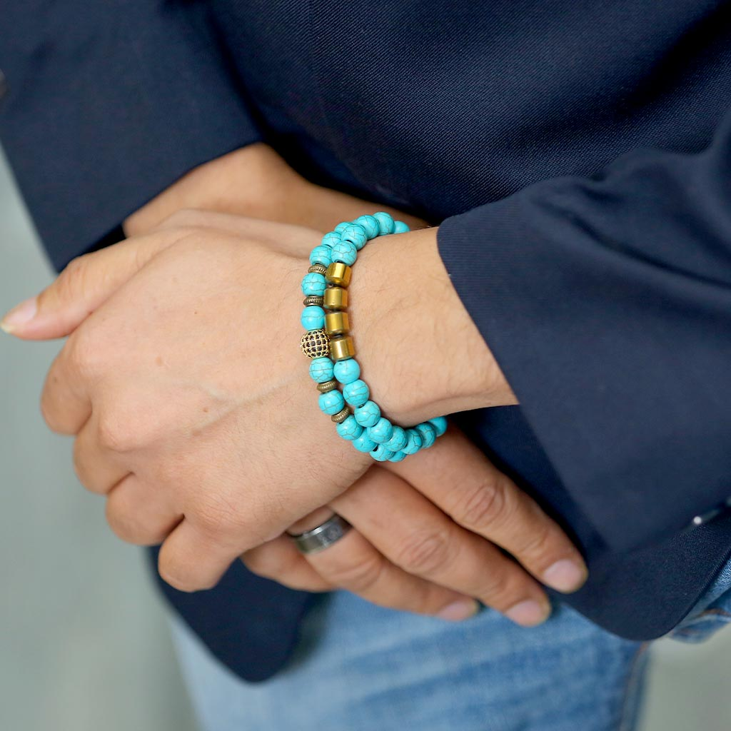 "JWF™ ""Keep Moving"" Protection Turquoise Hematite Healing Bracelet"