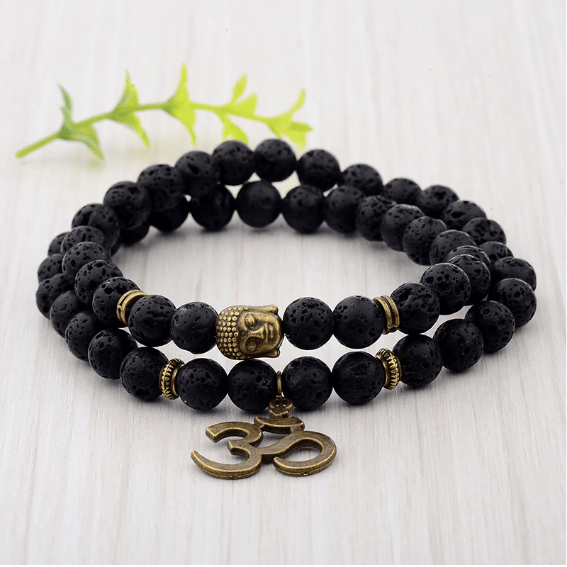 JWF™ Auspicious & Divine Lava Beads With Aum Bracelet For Health & Focus