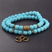 Load image into Gallery viewer, JWF™ Antique Om Charm Turquoise  Buddha Double Fold Bracelet