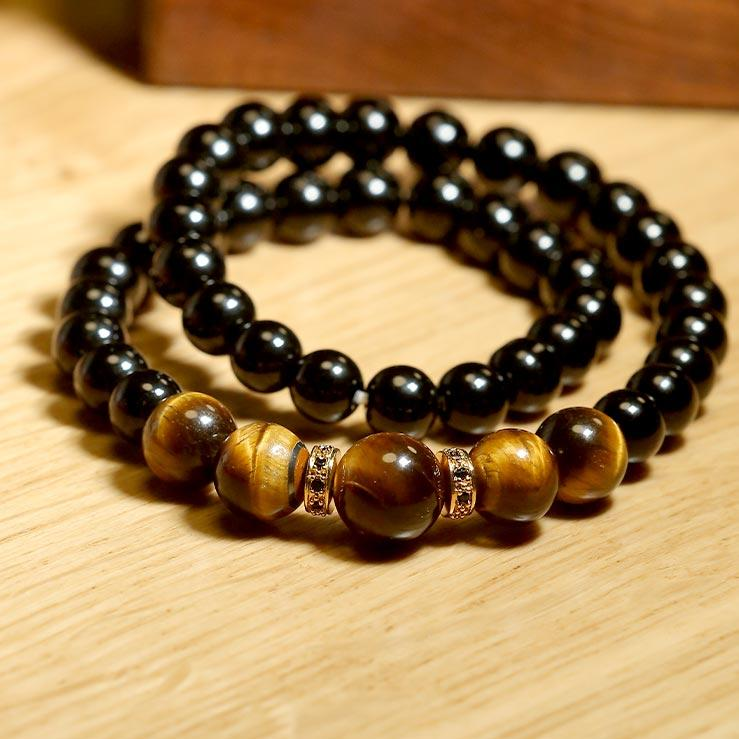 "JWF™  ""Stay Fear Free With Strong Mind ""Obsidian Tiger Eye's Stone Health Bracelet"