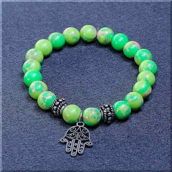 JWF ™ Exclusive Natural Parrot Green Jasper Hamsa Luck Bracelet