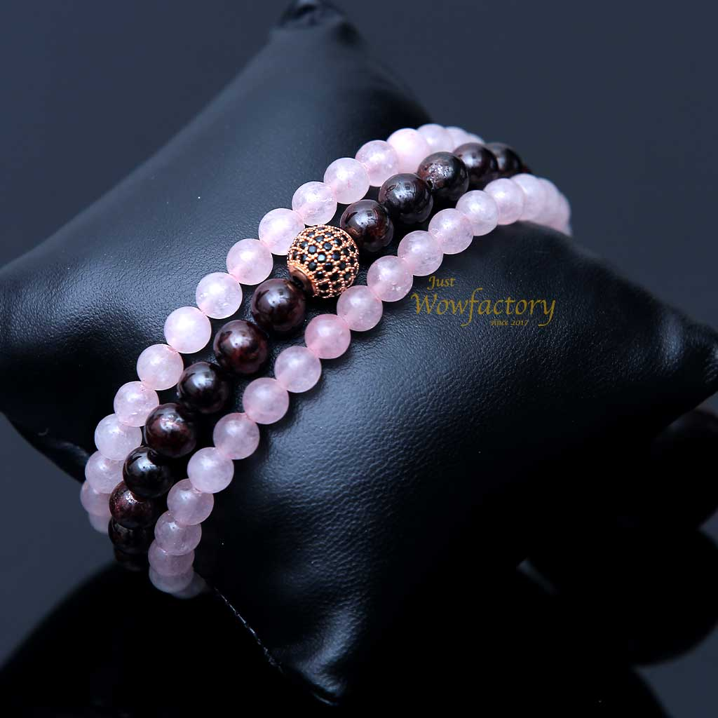 Exclusive Garnet Rose Quartz Bracelet Combination