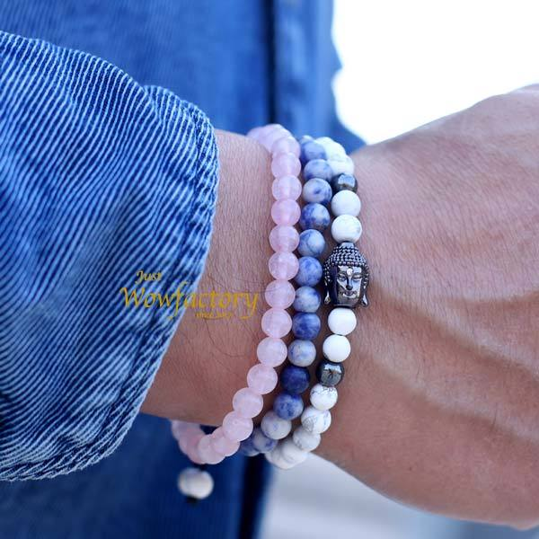 """Royal Three""  Howlite Sodalite Rose Quartz Energy Bracelets"
