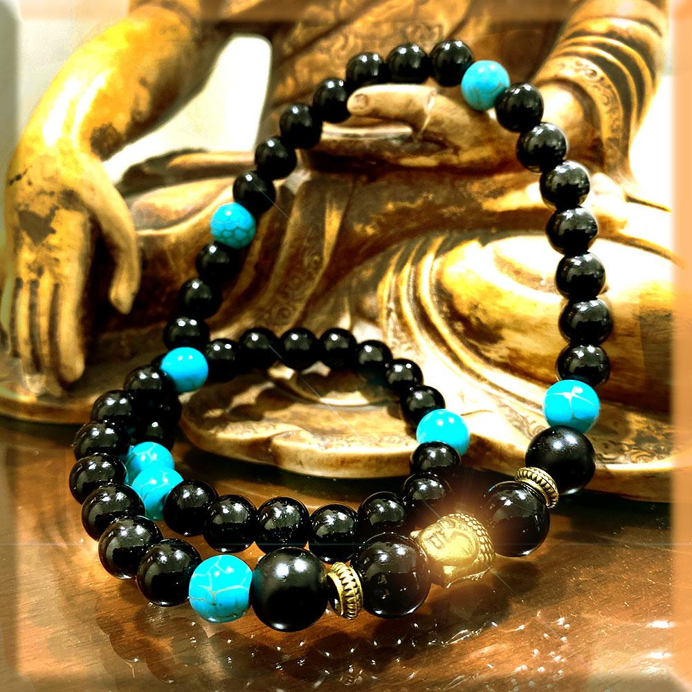 JWF™  100% Exclusive Turquoise Black Agate Buddha Bracelet For Meditation & Health.
