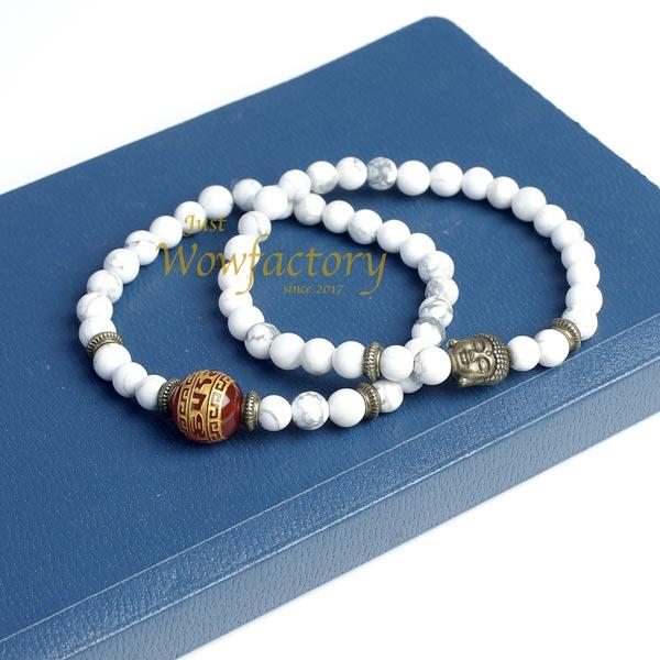 "JWF™ ""Stay With Positive Attitude"" Exclusive Howlite Peace Pair Bracelet"