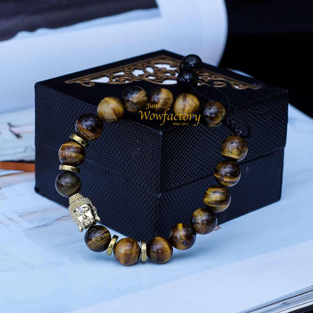 JWF™ Premium Zirconia Natural Tiger Eye Stones Buddha Bracelet For Peace