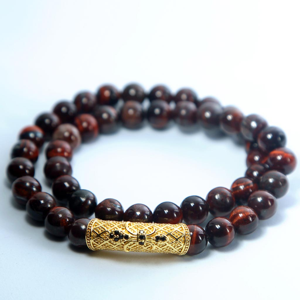 "JWF™  ""Enrich Calmness and Positivity"" Red Tiger Eye Healing Stone Bracelet"