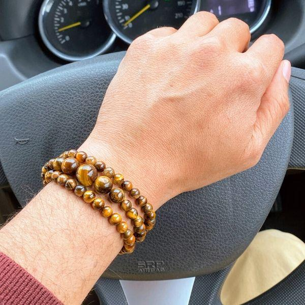 JWF™ 100% Natural Tiger Eye Stone Bracelet For Focus & Confidence