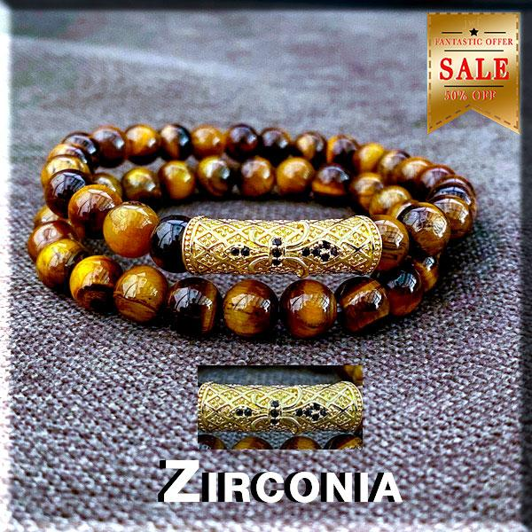 "JWF™  ""Distraction Free Mind"" Tiger Eye Stone Yoga Pair Bracelet"