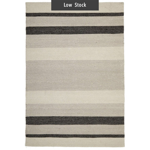 Havana Charcoal Striped Cotton & Wool Flatweave Rug (Low Stock)