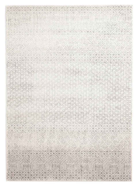 Nile Grey Diamond Ivory Distressed Rug