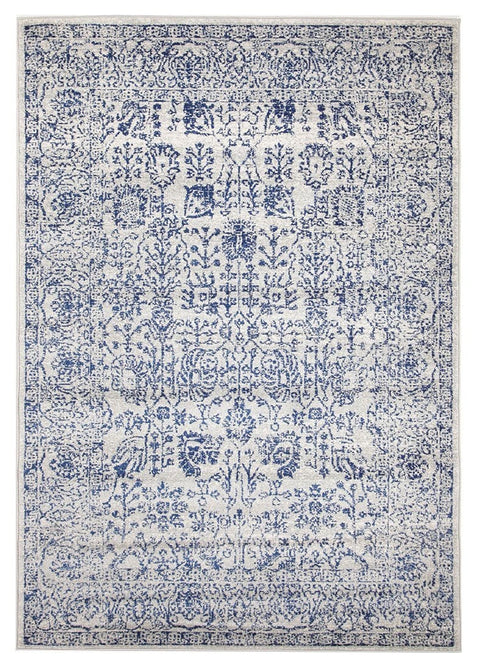 Attu Cobalt Blue Floral Transitional Rug