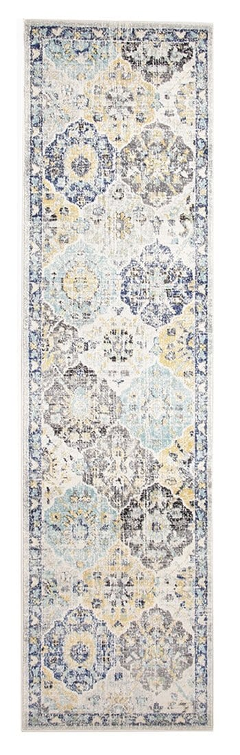 Mardin Blue & Yellow Floral Runner Rug