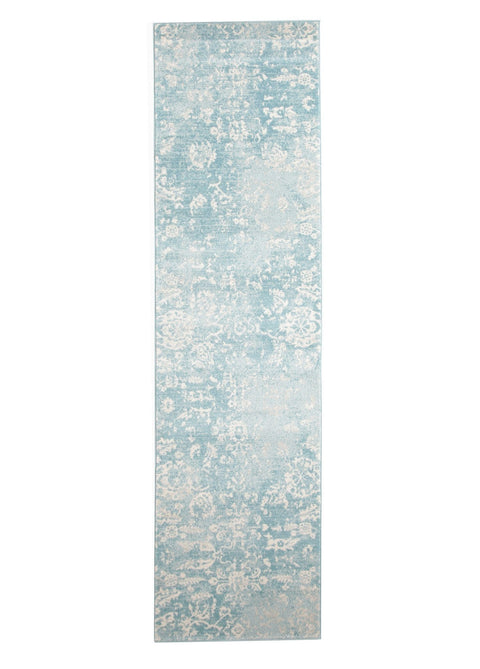 Klis Light Blue Floral Runner Rug