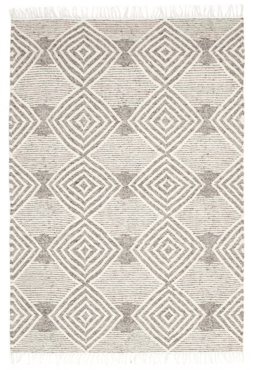 Takoma Ivory & Grey Tribal Fringed Rug