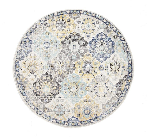 Mardin Blue & Yellow Floral Round Rug