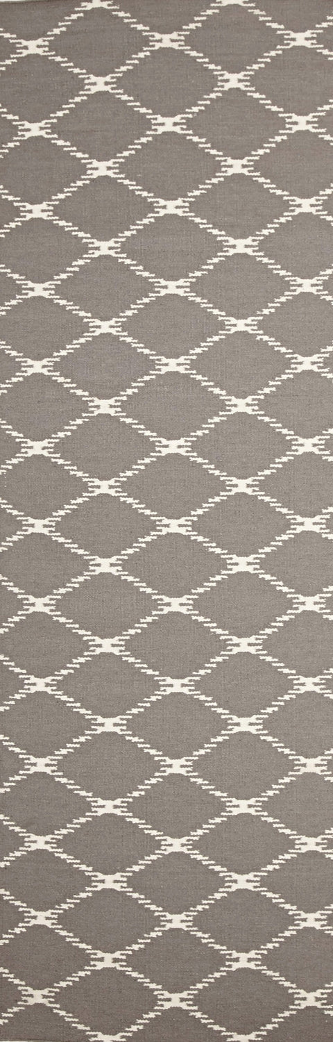 Nimes Grey Lattice Flatweave Runner Rug