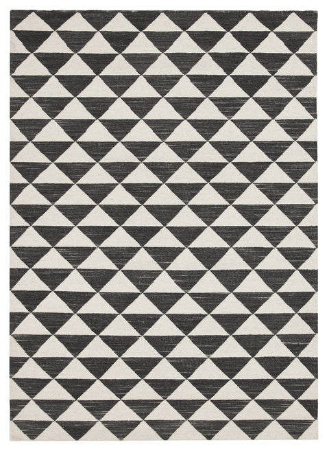 Colmar Black & White Geometric Wool Rug