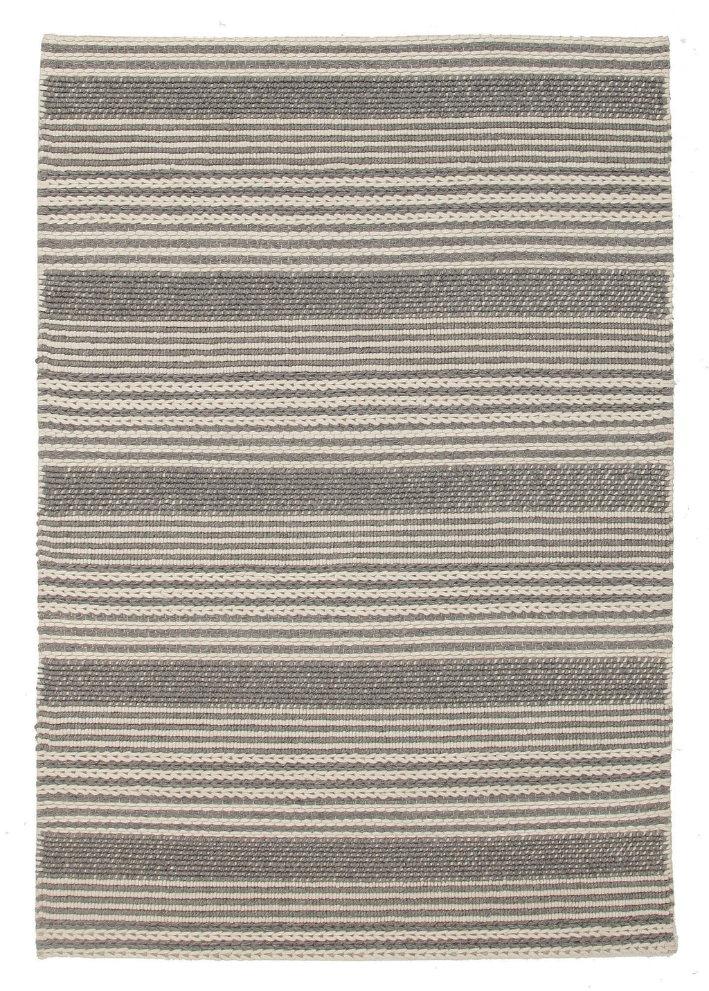 Whitby Braided Grey Stripe Wool Rug