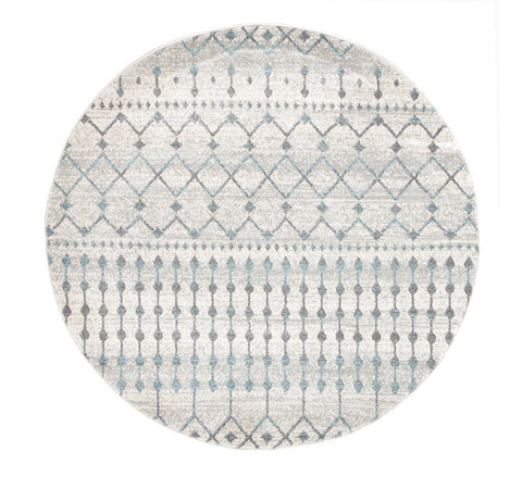 Gramercy Grey & Blue Distressed Round Rug