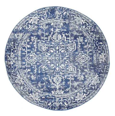 Chania Navy Blue Distressed Round Rug