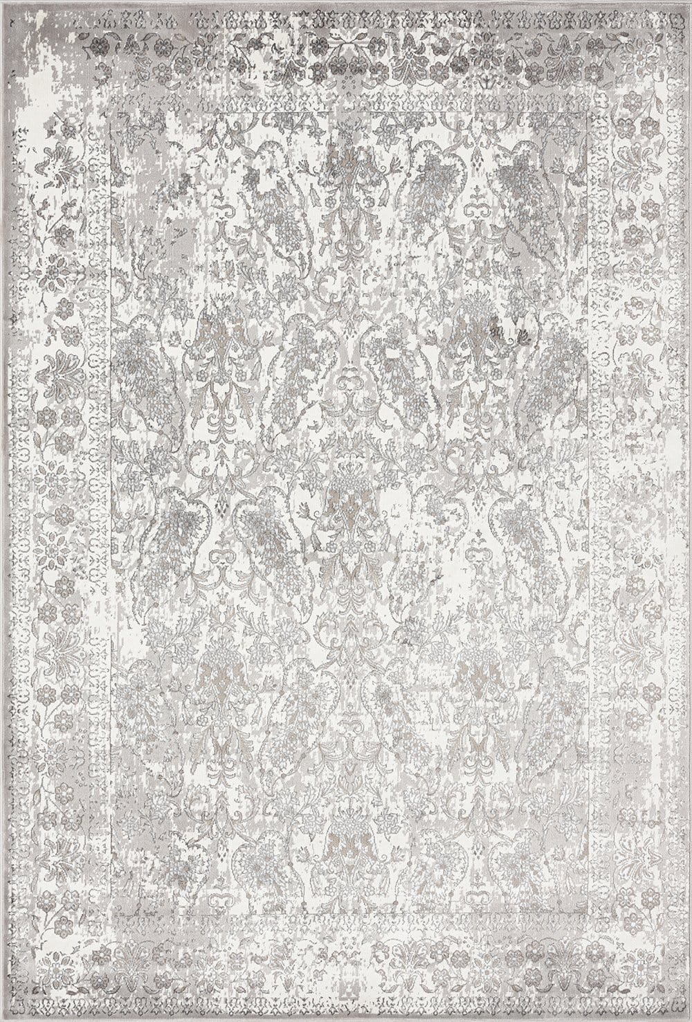 Aaerin Charcoal Grey and Ivory Traditional Distressed Rug