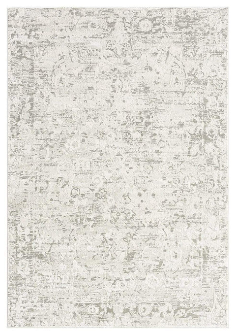 Adela Grey and Ivory Distressed Floral Rug
