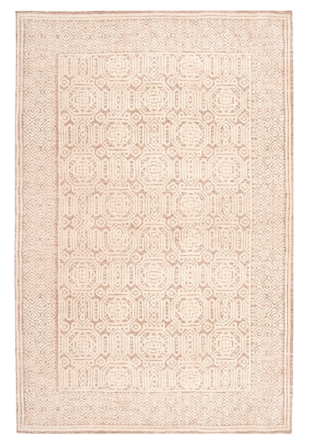 Alessandra Peach and Ivory Tribal Textured Rug