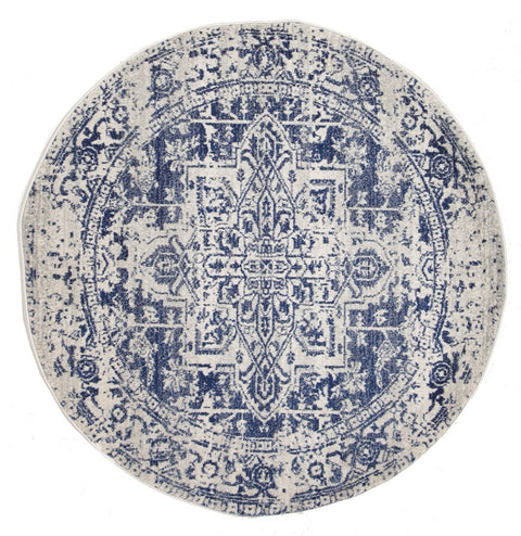 Alta Ivory & Cobalt Blue Distressed Transitional Round Rug